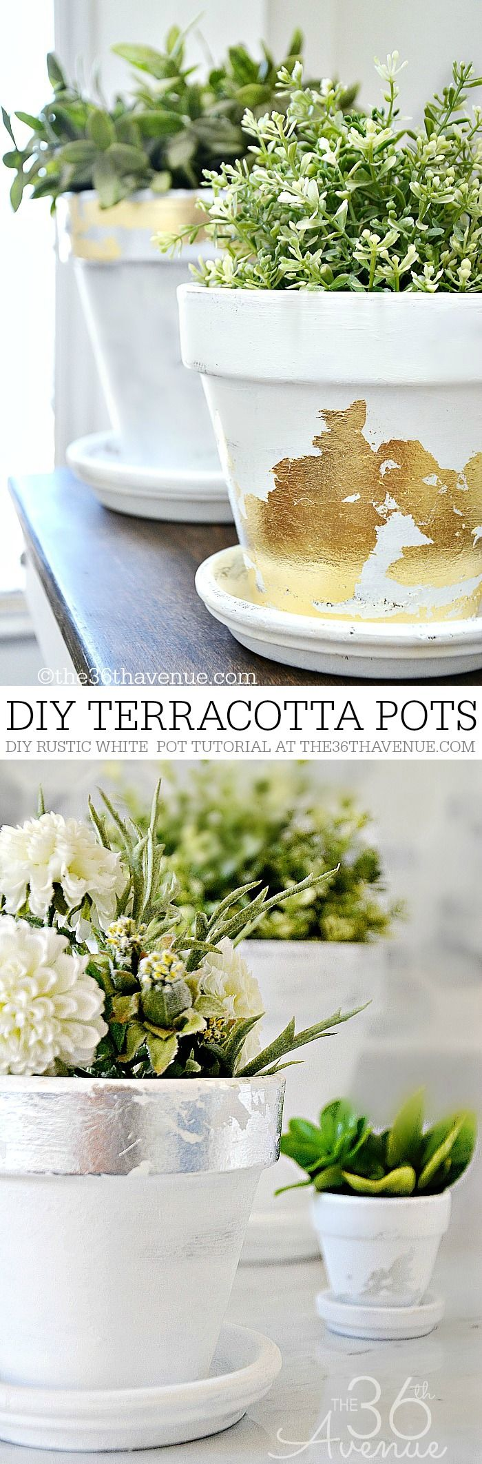 DIY Home Decor - Terracotta Pots with silver and gold leaf. Beautiful home decor idea.