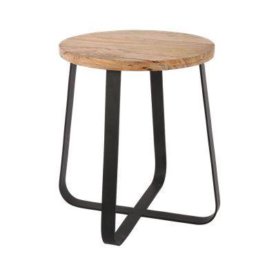 Krukje Ferro klein zwart met hout #Casabella #Kruk #Furniture #Wonen
