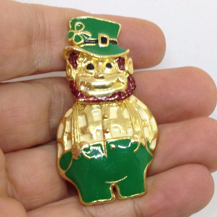 Vintage SFJ Signed IRISH LEPRECHAUN BROOCH PIN Enamel Gold Tone Jewelry SALE #SFJ