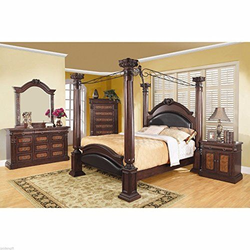 4 Post Queen Size Canopy Bed Frame Bedroom Furniture Bedding Leather Headboard *** See this great product.