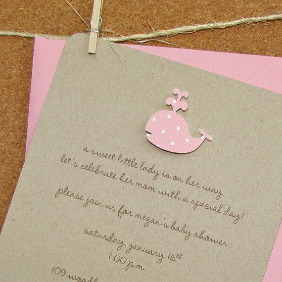 Handmade Recycled Kraft Baby Girl Shower Invitations - Blossom Polka Dot Whale