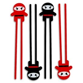 """Not every young grasshopper can master the art of the chopsticks right away. But for those determined to learn, there are Ninja Warrior Kids Chopsticks! Now you can add to the ninja theme of your party and mask your inability to coordinate your fingers to eat noodles and other delicious ninja food. Product Highlights:  6 chopsticks per pack, 3 red and 3 black. Flexible, lightweight plastic construction. Great party favors, too! Overall length: 10.75"""""""
