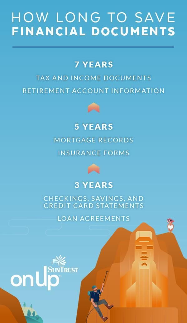 Keeping your financial information in order isn't as daunting as it seems. It doesn't matter if you save files in an old-school folder or on the cloud. Just save them. Some materials should be kept long-term, like tax returns and loan agreements. This handy guide can help you decide what to keep and for how long. Getting organized will bring you one step closer to financial confidence.