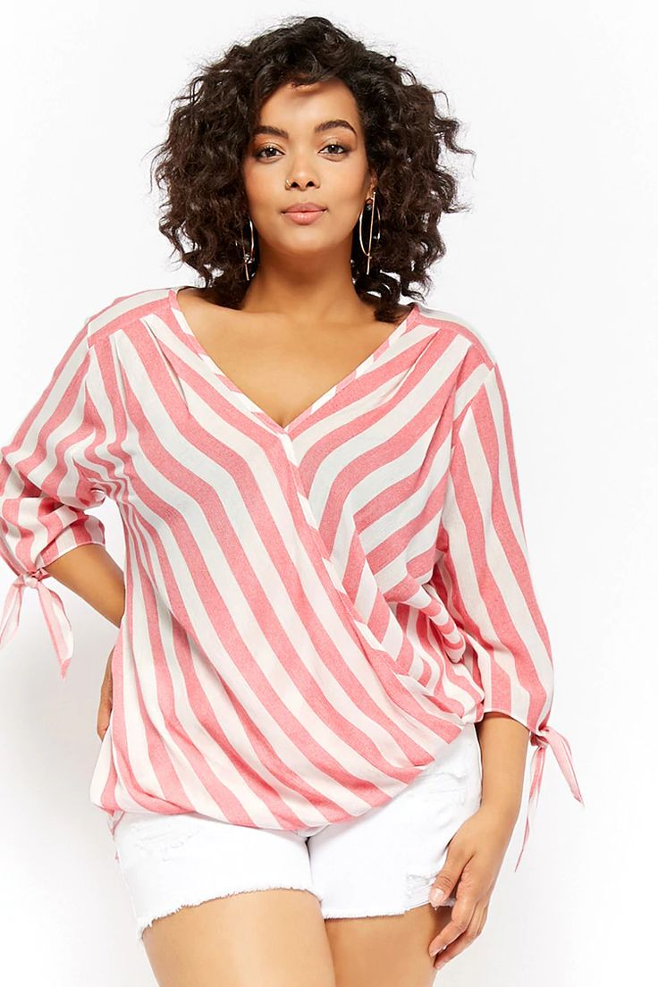 Plus Size Striped Surplice Top