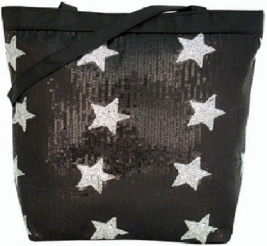 Black & Silver Sequin Stars Tote Bag Purse Girl Teen Dance Cheer Gymnastics NEW in Clothing, Shoes & Accessories | eBay