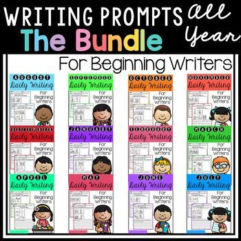 This pack is great for beginning writers or struggling writers in kindergarten and in first grade to build confidence in writing. Writing Prompts, Kindergarten writing, First grade writing. Opinion writing, narrative writing, informational writing.