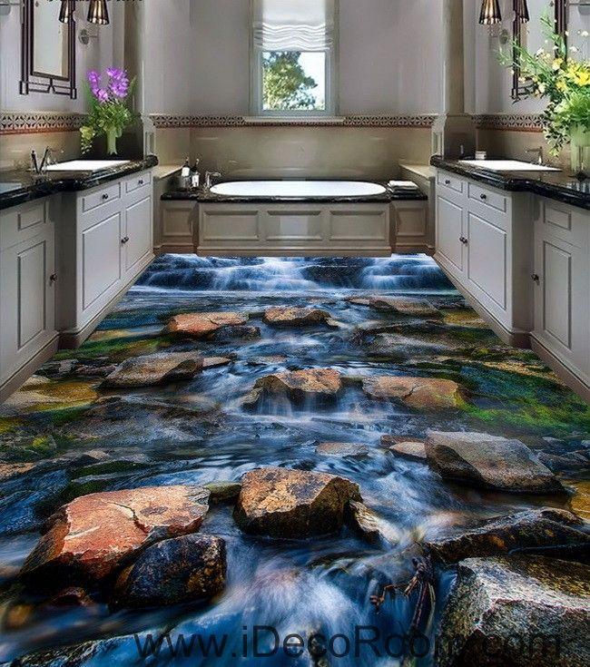 Waterfall Stone Steam Brook 00025 Floor Decals 3D Wallpaper Wall Mural Stickers Print Art Bathroom Decor Living Room Kitchen Waterproof Business Home Office Gift