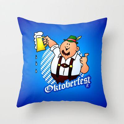 Oktoberfest - man in lederhosen Throw Pillow by Cardvibes - $20.00 #Society6 #Cardvibes #Tekenaartje