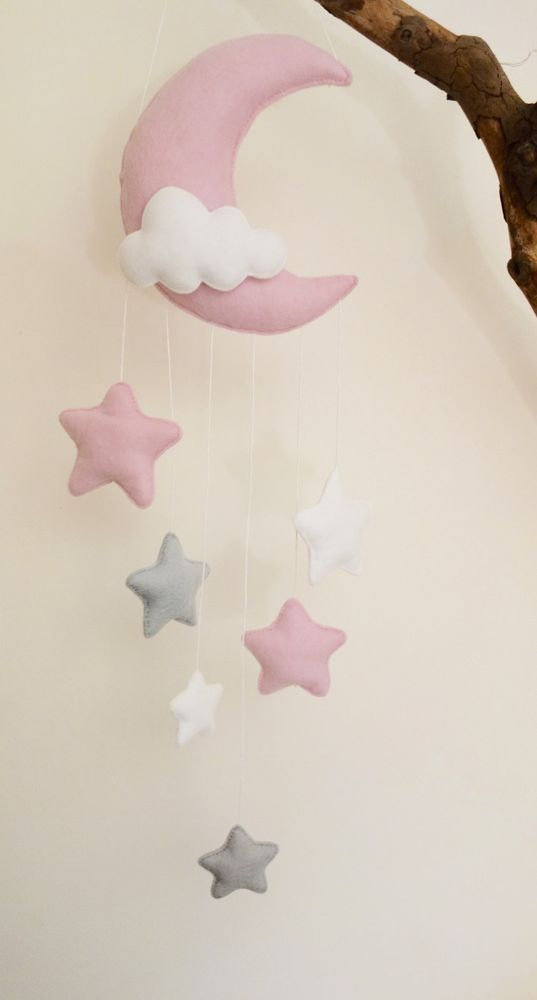 Moon and stars nursery decor (silver grey, pink, white)
