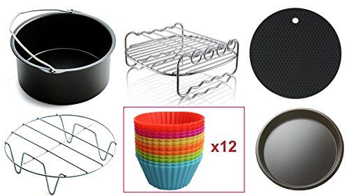 Air Fryer Accessories Compatible with Philips Avance/Viva,Cozyna,Gowise,Power Airfryer and more (Set of 17. Fits 3.7QT and above Air Fryers, Multi color round) #Fryer #Accessories #Compatible #with #Philips #Avance/Viva,Cozyna,Gowise,Power #Airfryer #more #(Set #Fits #above #Fryers, #Multi #color #round)