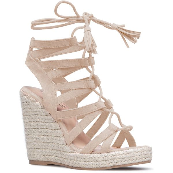 ShoeDazzle Wedge Anabella Womens Beige ❤ liked on Polyvore featuring shoes, beige, wedges, beige espadrilles, lace up wedge shoes, wedge shoes, tassel shoes and wedge sole shoes