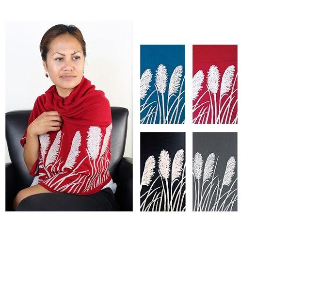 New Zealand merino pashmina with a toitoi print made in New Zealand by Jill Main.
