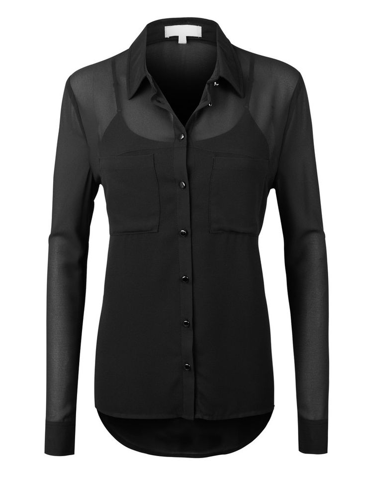LE3NO Womens Long Sleeve Sheer Chiffon Button Blouse Top