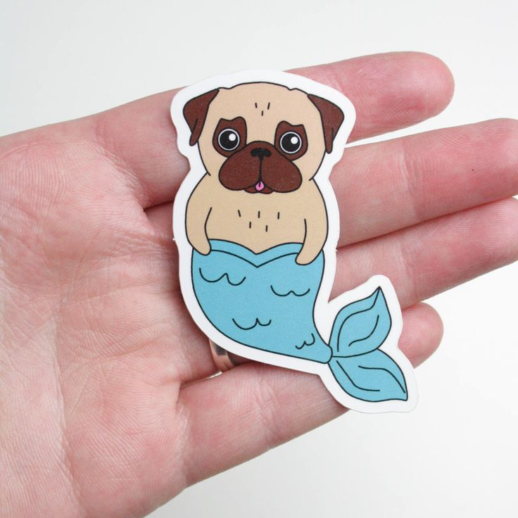 Pug Mermaid Sticker - vinyl sticker - outdoor sticker door NaisProductsNL op Etsy https://www.etsy.com/nl/listing/471117676/pug-mermaid-sticker-vinyl-sticker