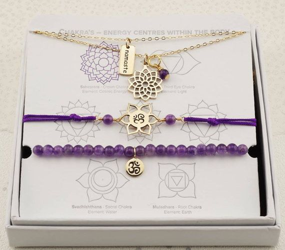 Gold Crown chakra necklaces gold and amethystFebruary