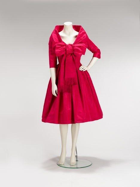 Christian Dior shocking pink party dress Autumn 1958