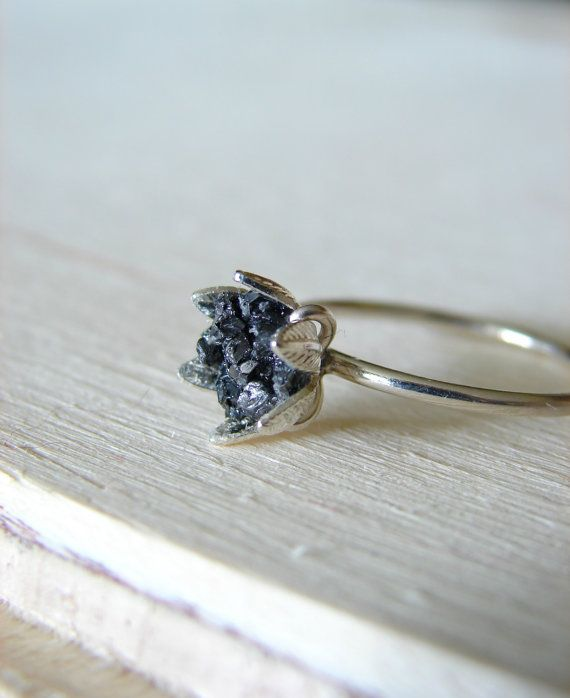 Raw Black Diamond Ring, Rough Diamond Jewelry for Her, Bridal Engagement Ring, April Birthstone, Christmas Gift for Women, Stocking Stuffer