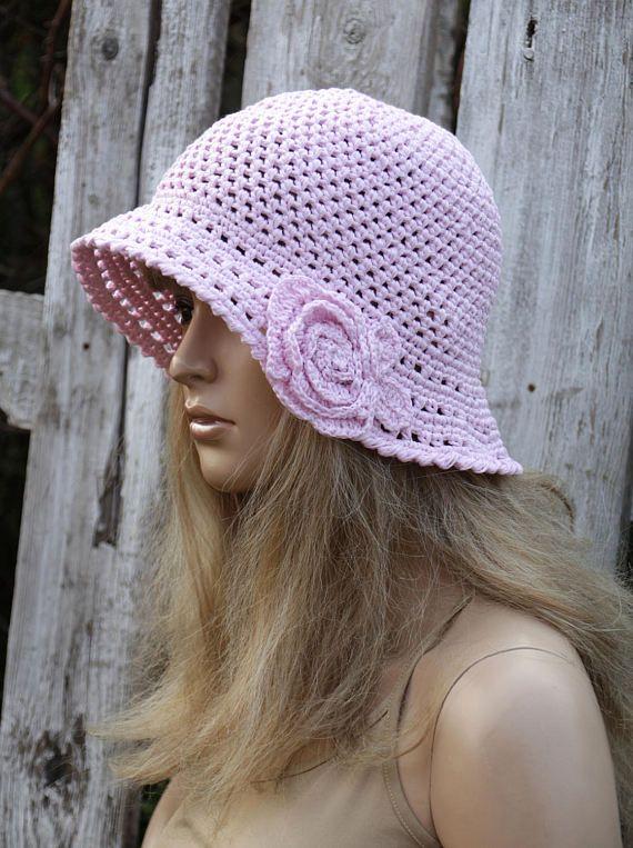 Crochet Summer Hat Hand made Hat Pink pastel Cotton Floppy Hat
