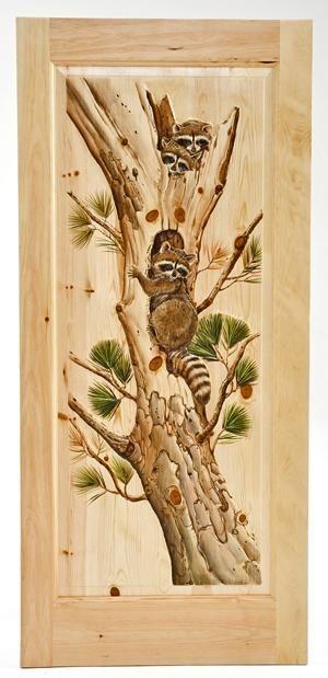 Woodland Creek Furniture Animal Carved Doors | Hand Carved Cabin Door With  Raccoonu0027s Climbing Interior Door