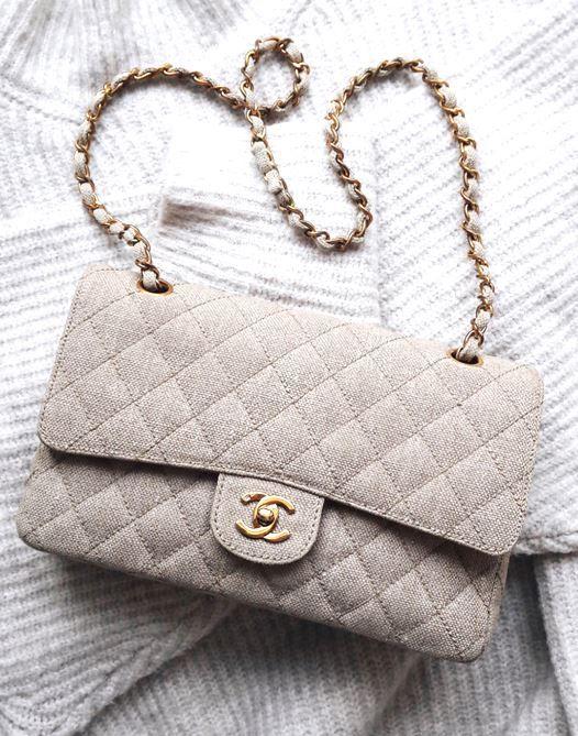 Grey cotton Chanel Classic Flap