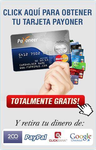 Realmente me gustaría recomendar la tarjeta Payoneer. Es una enorme manera de recibir pagos de las empresas extranjeras. Ideal para profesionales y pequeñas empresas. Regístrate y comienza a ganar, a los dos nos pagarán $ 25 dlls gratis una vez que tu recibes $ 100 en pagos!