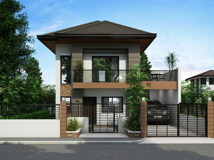 two storey house design with terrace
