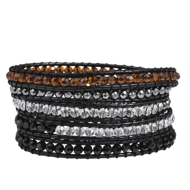 34''-35'' L Faceted Glass Hematite Beads 5 Wraps Black Leather Wrap Bracelet