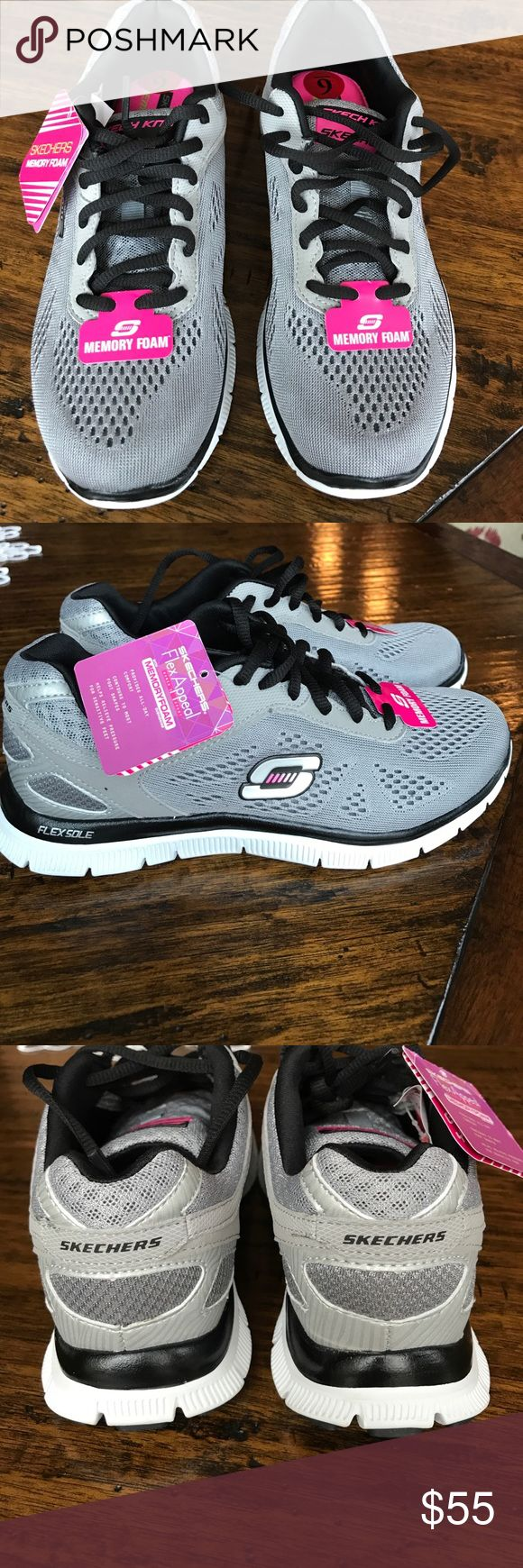 Sketchers Sneakers Flex appeal with memory foam that provides all-day comfort, contours to most foot shapes and helps relieve pressure for sensitive feet. Color: gray/silver. Size: 6 Skechers Shoes Athletic Shoes