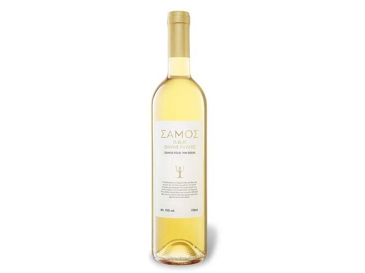 Samos PDO- 3.99* Griechischer Likör-wein Herkunft:Erzeugnis aus Griechenland Anbaugebiet:Samos Geschmacksrichtung:süß Gebindegröße:0,75-l-Flasche Alkoholgehalt:15,0 % vol Rebsorte:Muscat Serviertemperatur:9 - 11 °C Speiseempfehlung:Dessert Verantwortlicher Lebensmittelunternehmer:Greek Wine Cellars S.A., 19003 Markopoulo, Greece Allergene:enthält Sulfite