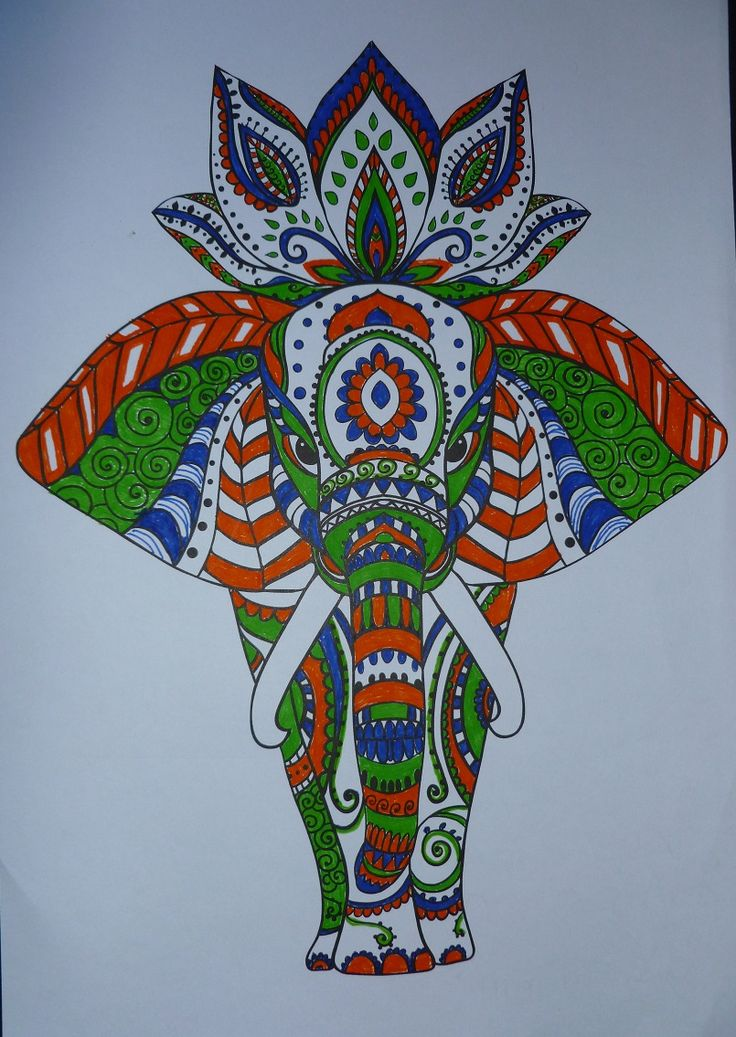 Tangled elephant coloured using pens.   From the Calm Colour Create book - Indian Summer.   26th November 2015