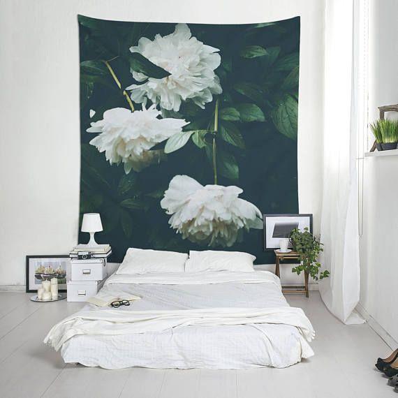 Witte bloemen Tapestry pioenrozen kunst aan de muur