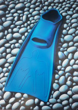 'The Blue Flipper' by Michael Smither. Flipper on river stones. 600NZD for screenprint. (Originally called Phil's Flipper in 1997.)