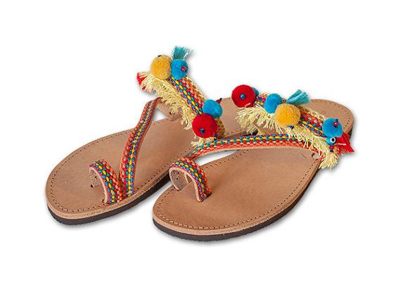 Bohemian style Handmade Greek leather sandals with ribbon, ponpons and tassels. Each leather sandal is handmade from genuine leather on to and