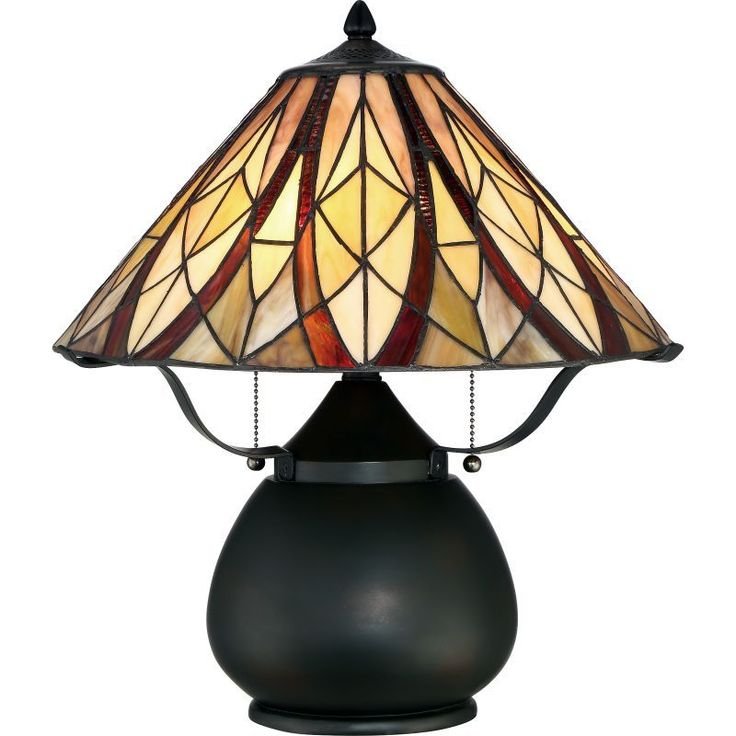"""Quoizel TFVY6118 Victory 2 Light 19"""" Tall Accent Table Lamp with Tiffany Glass E Valiant Bronze Lamps Table Lamps Accent Lamps"""