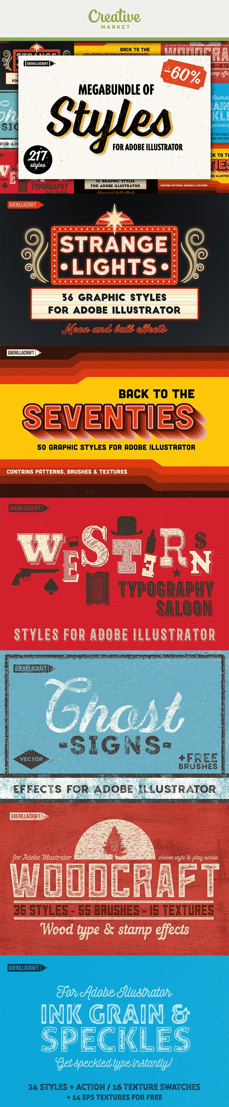 Ad: Megabundle of Styles for Adobe Illustrator consists of 6 Guerillacraft products containing 217 styles for Adobe Illustrator.With a few clicks, you will get amazing vector effects. You can use them with typography or one color logo design. With one purchase you will get a wide range of the effects inspired by retro and vintage typography graphic styles.