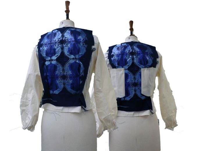 I used my textile print experimentations to look at the front and back of my blouse designs. This print design ended up being my final print technique in a different layout!