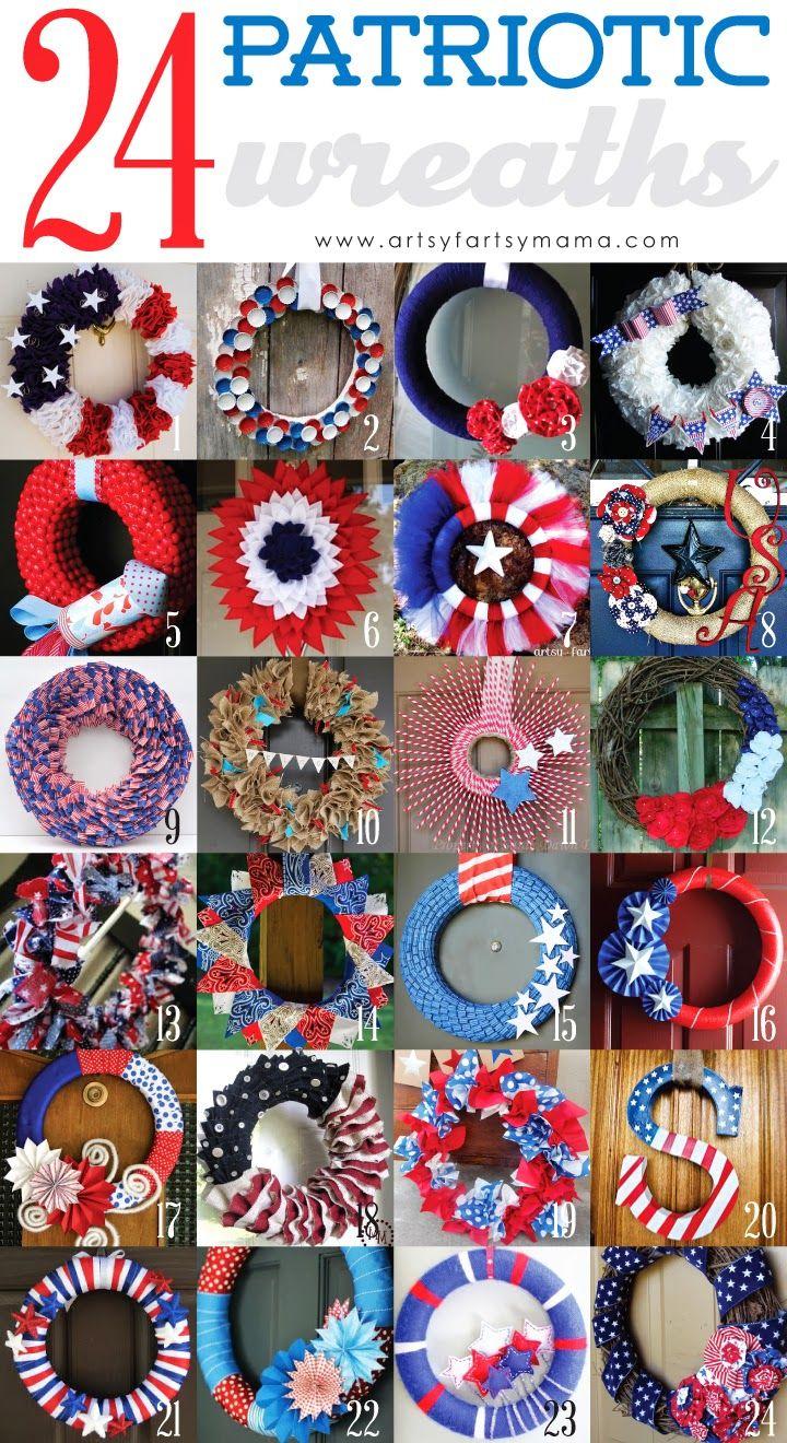 24 Diy Patriotic Wreaths Patriotic Crafts Patriotic Wreath Wreath Crafts
