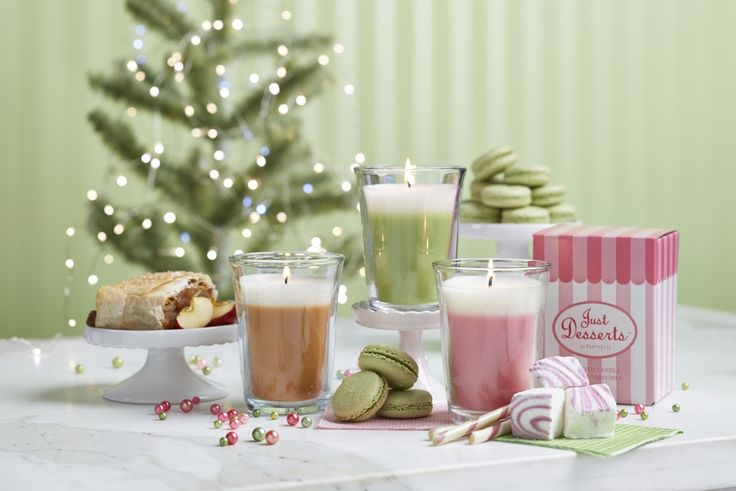 Just Desserts by PartyLite Scented Jar Candle available in Apple Strudel, Lemon Lime Macaron And Marshmallow Peppermint .....and Petite Desserts Candle Holder!