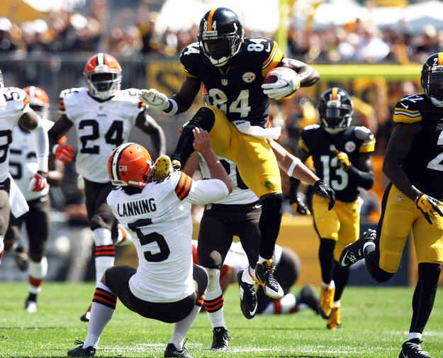 Pittsburgh Steelers receiver Antonio Brown proved that his skills aren't just limited to football. On a punt return against the Cleveland Browns, he kicked the punter Spencer Lanning in an attempt to hurdle him.