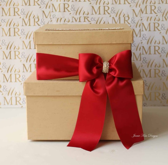 Wedding Shower Gift Card Box : Red billon Wedding Card Box Wedding Box Gift by jamiekimdesigns, USD98 ...