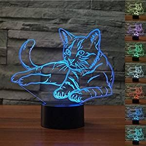 Cat Decor Desk 3d Lovely Cat Animal Night Light Table Desk Optical Illusion Lamps 7 Color Changing Light Tween Girl Gifts Girls Gift Guide Animal Night Light