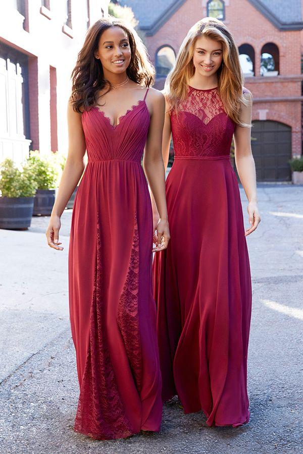 c8d564fb43 Winsome Lace   Chiffon   Stretch Satin Spaghetti Straps Neckline A-line  Bridesmaid Dress