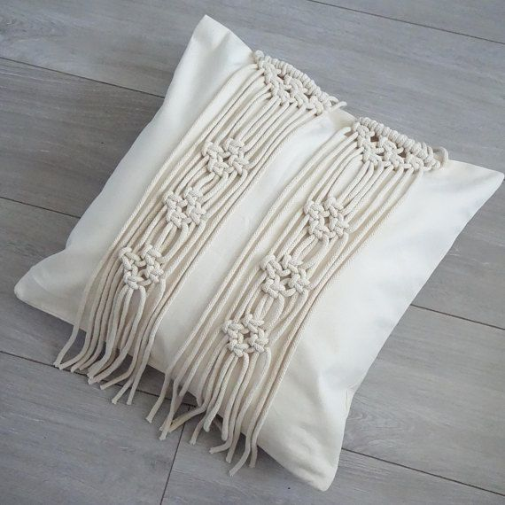 Macrame Cushion Cover Cream Cushion Cover Fringe Pillow