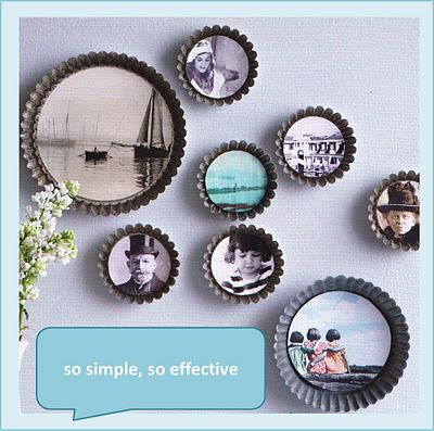 use old pie pans as photo frames :D  great kitchen idea!  click the image for the tutorial!