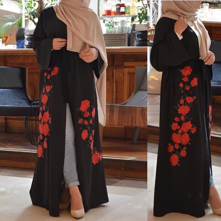 EID abaya with embroidery rose .