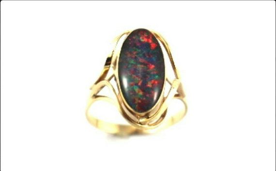 Black Opal Ring Coloured Red, Green and Blue Australian Black Opal 9 ct Gold