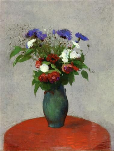Vase of Flowers on a Red Tablecloth - Odilon Redon