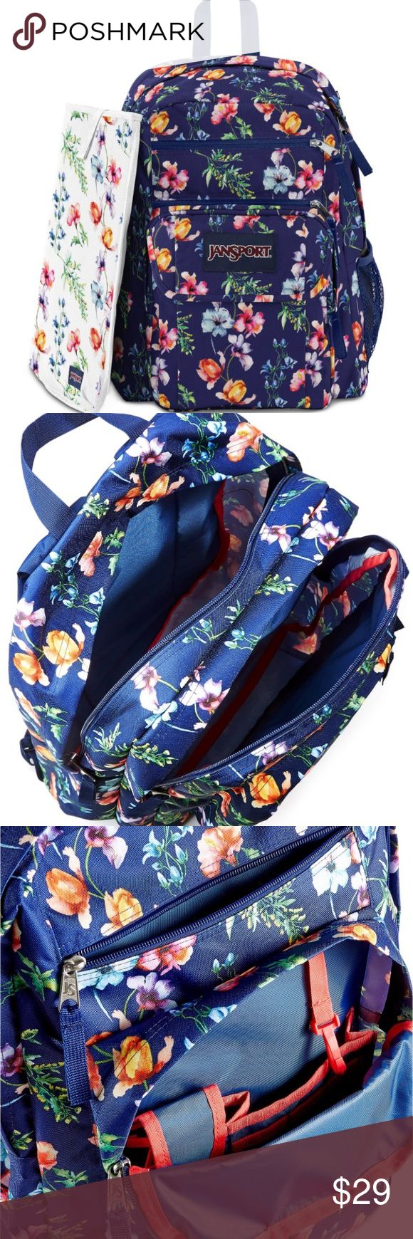 "NWT Jansport Big student backpack multi navy Stow your school gear and carry a bit of the outdoors wherever you go with this spacious student backpack from Jansport. Dimensions 17.5""x13""x10"". Two large main compartments with front utility pocket and organizer. S-curve shoulder straps and top carry handle. Zip closure. Durable polyester exterior with padded back panel, side water bottle pocket and pleated front stash pocket. Jansport Bags Backpacks"