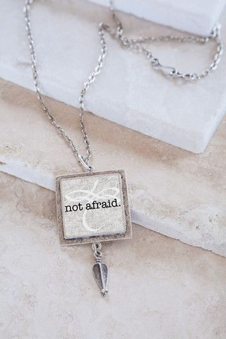 Not Afraid Bravery Quote & Corinthian Drop Silver Plated Pendant Necklace