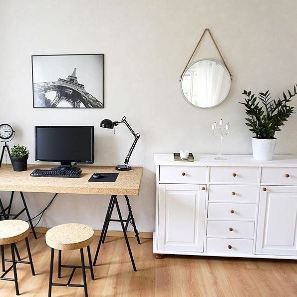 ikea sinnerlig cork table as a desk via workspacegoals. Black Bedroom Furniture Sets. Home Design Ideas
